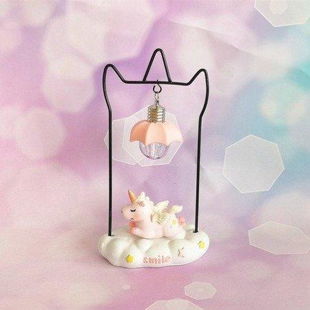 Lampka nocna jednorożec na chmurce różowy LED